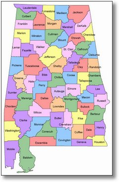 Alabama Certified FHA Appraisers CHENEY APPRAISAL SERVICES - State of alabama map